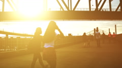 People and the Blazing Hot Afternoon Sun at Big Four Bridge Stock Footage