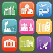 Set of icons infrastructure city Stock Illustration