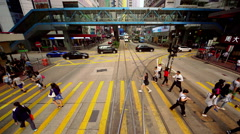 BUSES TRAMS TAXIS TRAFFIC CAUSEWAY BAY HONG KONG Stock Footage