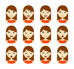 Woman facial expressions Stock Illustration