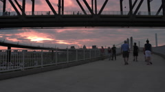 People Time Lapse Sunset Red Sky Golden Hour Stock Footage