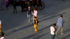 PEDESTRIANS CYCLISTS IN FLORENCE TUSCANY ITALY Stock Footage