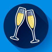 Two glasses of champagne flat icon - celebration symbol Stock Illustration