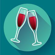 Two glasses of wine flat icon - celebration symbol Stock Illustration