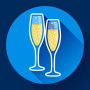 Two glasses of champagne flat icon - celebration symbol Stock Illustration