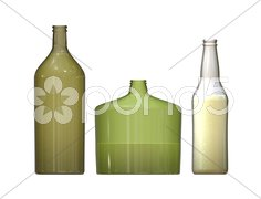 3 bottles Stock Photos