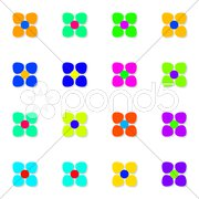 An illustration of some colorful simple flowers Stock Photos