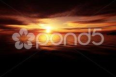Golden ocean sunset Stock Photos