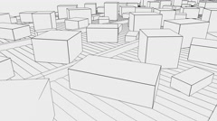 Multiple different sized cartons moving on conveyors. 4K seamless loopable Stock Footage