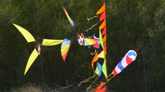 Kites Windmills Flags Funnel Swaying at the Wind Kites Festival Leba Poland Stock Footage