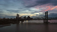 Louisville Wisp of Sunset Clouds and Abraham Lincoln Bridge Stock Footage