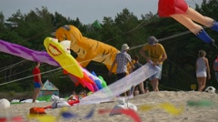 Residents of the Town of Leba Spend Time on Beach Near the Baltic Sea During Stock Footage