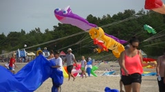 People at Kites Festival Leba Poland Colorful Kites Fish Tiger Shapes Kites Are Stock Footage