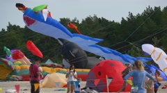Participants of Festival of Kites in Leba (Poland) Have Come to the Baltsky Sea Stock Footage