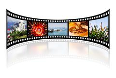 Film strip with reflection on white Stock Illustration