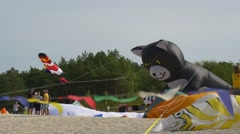 The Big Group of Visitors of Festival of Kites Has Settled Down on a Beach of Stock Footage