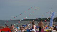 On a Beach of Baltic Sea Passes Festival of Kites Stock Footage