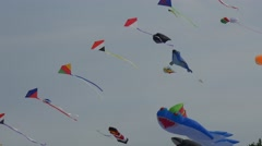 The Big and Small Kites Are Floats in the Sky Stock Footage