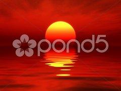 Ocean sunset red Stock Photos