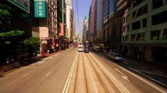 MOVING TRAM CORRIDOR BUILDINGS  WAN CHAI HONG KONG Stock Footage