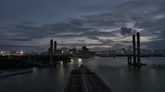 Barge Passing Underneath Sunset Louisville Evening Stock Footage