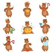 Brown Bear Different Activities Set Of Girly Character Stickers Stock Illustration
