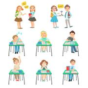Children At School Sitting In Class And Chatting With Friends Stock Illustration