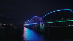 Big Four Time Lapse Colorful Bridge Lights Louisville Night Shot Stock Footage