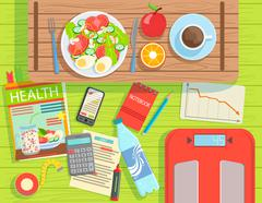 Diet And Weight Loss Elements Set View From Above Stock Illustration