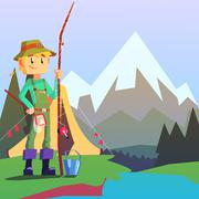 Fisherman Camping With The Mountain Landscape On The Background Stock Illustration