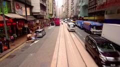 RIDING TRAM STREET WESTERN MARKET HONG KONG CHINA Stock Footage