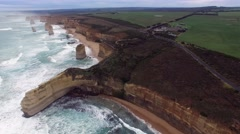 Beautiful cinematic flight over 12 Apostles main cluster on Great Ocean Road Stock Footage