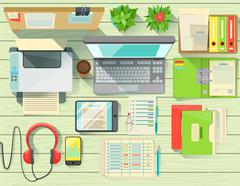 Modern Office Desk Elements Set View From Above Stock Illustration