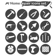Home repair and renovation icons set Stock Illustration
