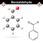 Benzaldehyde chemical formula and molecular structure Stock Illustration