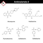 Chemical structures of main antimalarial drugs Stock Illustration
