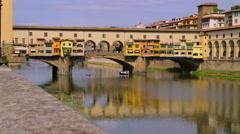 PONTE VECCHIO TOURIST BOAT FIRENZE TUSCANT ITALY Stock Footage