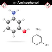 Meta aminophenol molecule Stock Illustration