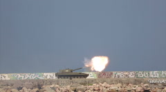 Modern self-propelled artillery systems firing Stock Footage
