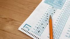 Standardized test answer sheet Stock Footage