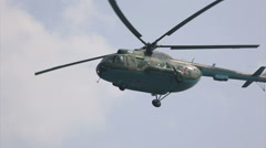 Russian military helicopter in the sky Stock Footage