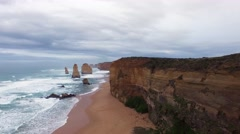 Slow rise above 12 Apostles main area. Great Ocean Road, Victoria, Australia. Stock Footage