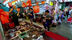 FISH MARKET MEAT STALL NORTH POINT HONG KONG CHINA Stock Footage