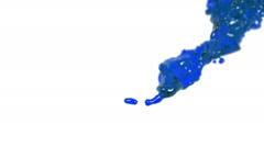 Blue fluid splash in slow motion. DOF. clear liquid Stock Footage