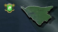 Sud-Comoe with Coat Of Arms Animation Map Stock Footage