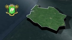 Sud-Bandama with Coat Of Arms Animation Map Stock Footage
