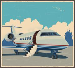 Private aviation retro poster Piirros