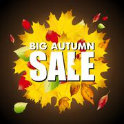 Seasonal big autumn sale business background with colored leafs in darkness Stock Illustration