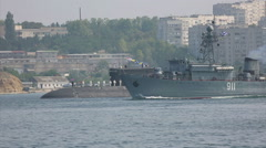 Warships and submarines of the fleet Russian Stock Footage