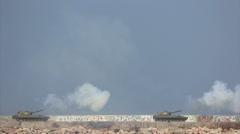 Modern Russian self-propelled artillery systems firing Stock Footage